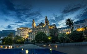 Обои пейзаж, фонари, Monte Carlo, дворец, ночь, огни, деревья