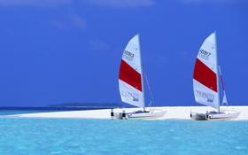 Обои парус, горизонт, небо, лето, море, песок, отпуск