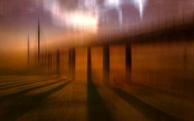 Обои свет, мост, сияние, люди, настроение, тень, опора