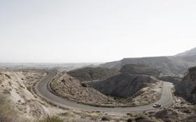 Картинка дорога, холмы, пустыня, день, Jaguar C-X75