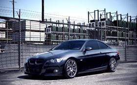 Картинка чёрный, забор, бмв, BMW, black, Coupe, 335i