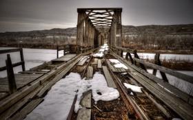Картинка зима, мост, река