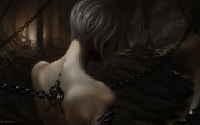 Обои девушка, арт, пещера, цепи, спиной, отверстие, мрачно