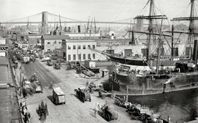 Картинка мост, порт, New York, NYC, Brooklyn Bridge, 1901