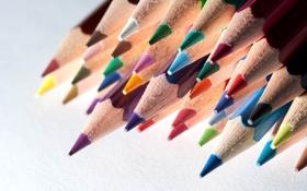 Картинка цветные, карандаши, много, канцелярия
