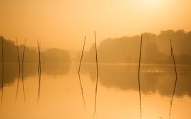 Обои пейзаж, озеро, утро
