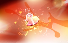Обои сердце, лента, бонт