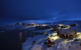 Картинка зима, пейзаж, ночь, деревня