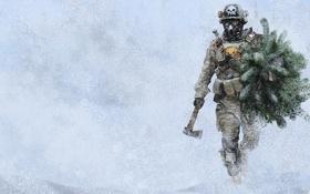 Обои солдат, постъядерная зима, ёлка, Лес