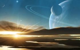 Картинка небо, закат, планеты, sky, planets, чужой мир