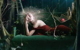 Картинка лес, девушка, деревья, ягоды, креатив, сюрреализм, яблоко
