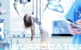 Обои девушка, провода, лаборатория, врач, Surrogates