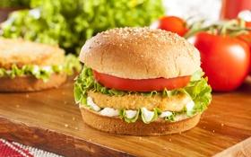 Обои курица, овощи, помидоры, гамбургер, котлета, сэндвич, булка