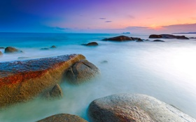 Обои закат, камни, скалы, небо, облака, море