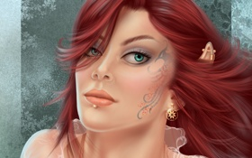 Обои эльф, уши, украшения, пирсинг, арт, девушка