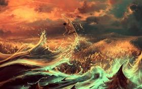 Картинка море, волны, облака, человек, арт, доска, сёрфинг