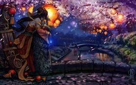 Обои девушка, мост, сакура, кимоно, фонарики, цветение, league of legends