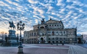 Картинка памятник, площадь, Дрезден, небо, Германия, театр, облака