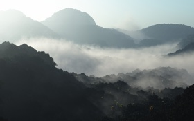 Обои фото, дымка, вид, обои, природа, туман, горы