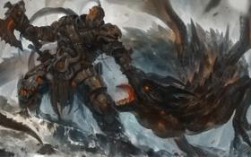 Обои камни, дракон, арт, битва, орк, секира