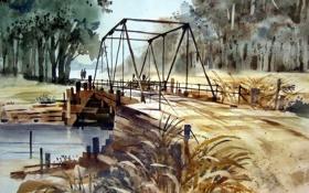 Обои мост, река, акварель
