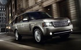 Картинка ночь, отражение, блеск, Range Rover, хром