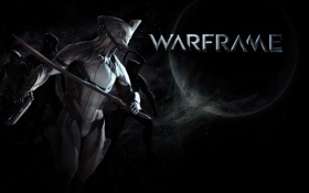 Обои планета, меч, костюм, warframe, beta-test