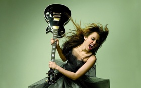 Картинка гитара, певица, Miley Cyrus, Майли Сайрус