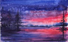 Картинка лес, закат, птицы, река, вечер, акварель, ёлки