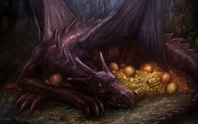 Обои золото, дракон, яйца, арт, монеты, сокровища, сундуки