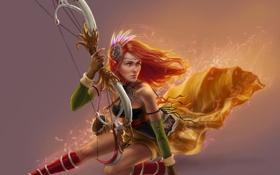 Картинка девушка, поза, фон, лепестки, лук, лучница, арт