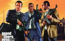Картинка майкл, франклин, Grand Theft Auto V, Rockstar Games, тревор