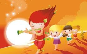 Картинка листья, дети, музыка, ветер, луна, скрипка, звёзды