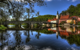 Картинка весна, река, Бавария, HDR, облака, утки, деревья