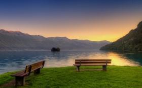 Картинка небо, трава, пейзаж, закат, горы, природа, озеро