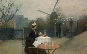 Обои столик, завтрак, Рамон Касас, жанровая живопись, утро, картина
