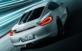 Картинка фон, тюнинг, Porsche, Cayman, Порше, вид сзади, tuning