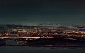 Картинка звезды, пейзаж, ночь, мост, город, огни, арт