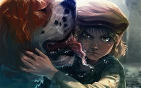 Обои взгляд, собака, мальчик, арт, кепка