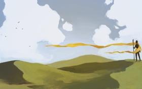Обои облака, птицы, холмы, человек, арт, лента