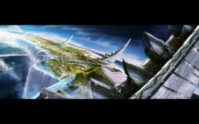 Обои водопады, планета, рога, Atmosphere Emitters