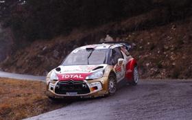 Обои Спорт, Машина, Поворот, Ситроен, Citroen, DS3, WRC