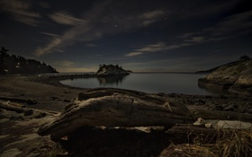 Картинка небо, ночь, природа, озеро, берег
