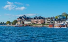 Обои город, побережье, Швеция, Stockholm, фото, вода, Vaxholm