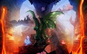 Обои скалы, драконы, арт, лава, кристаллы