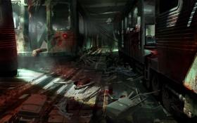 Обои авария, метро, кровь, кости, тоннель, FEAR 3