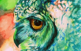 Обои сова, краски, рисунок