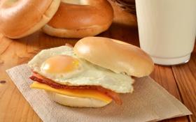Обои фото, еда, яичница, фастфуд, булочки, бутерброды