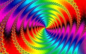 Картинка спираль, свет, фрактал, узор, цвет