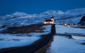 Картинка зима, дорога, снег, горы, церковь